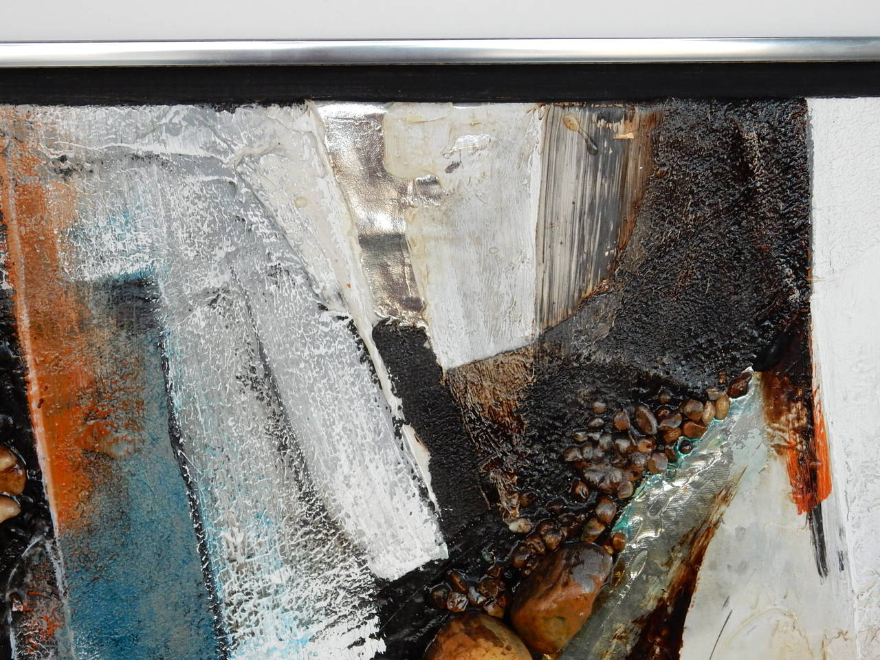 Large Abstract Collage Painting, 1970s 1