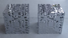 Pair of Chrome Cube Tables