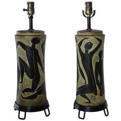 Pair of Incredible Marcello Fantoni Ceramic Lamps with Nude Dancers