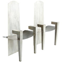 Stainless Steel Sculptural Geometric Arm Chairs, David Smith Style