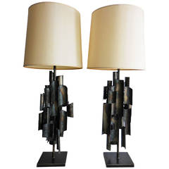 Monumental Pair of Sculptural Lamps by Fantoni