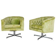 Iconic and Rare Pair of Swivel Chairs by Milo Baughman