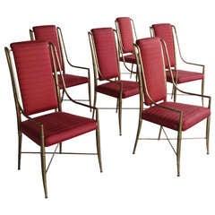 6 Brass Mastercraft Dining Chairs
