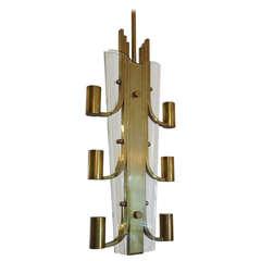 Mid Century Glass and Brass Italian Chandelier