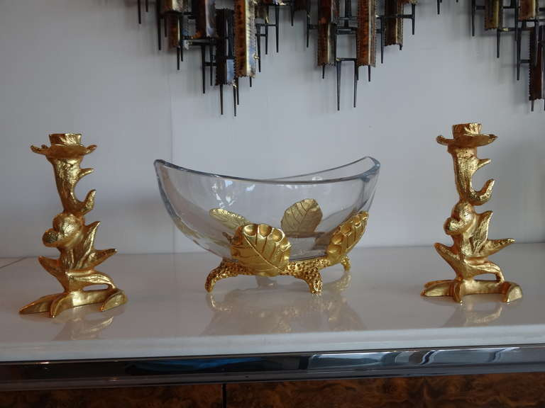 A rare centerpiece and candle holder set by French artist Mathias for Fondica. Incredible quality, heavy gilded bronze.