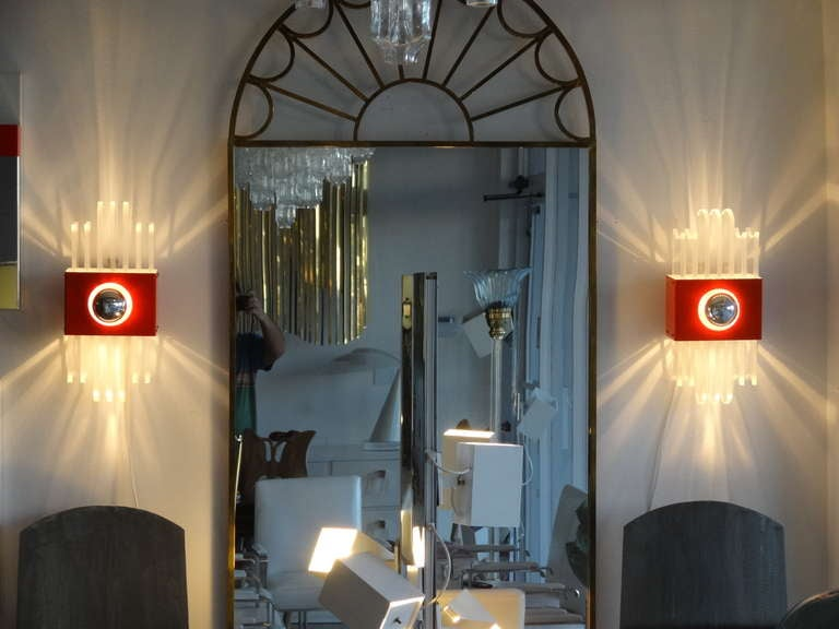French Enamel Wall Lights : Pair of French Orange Enamel and Lucite Sconces at 1stdibs