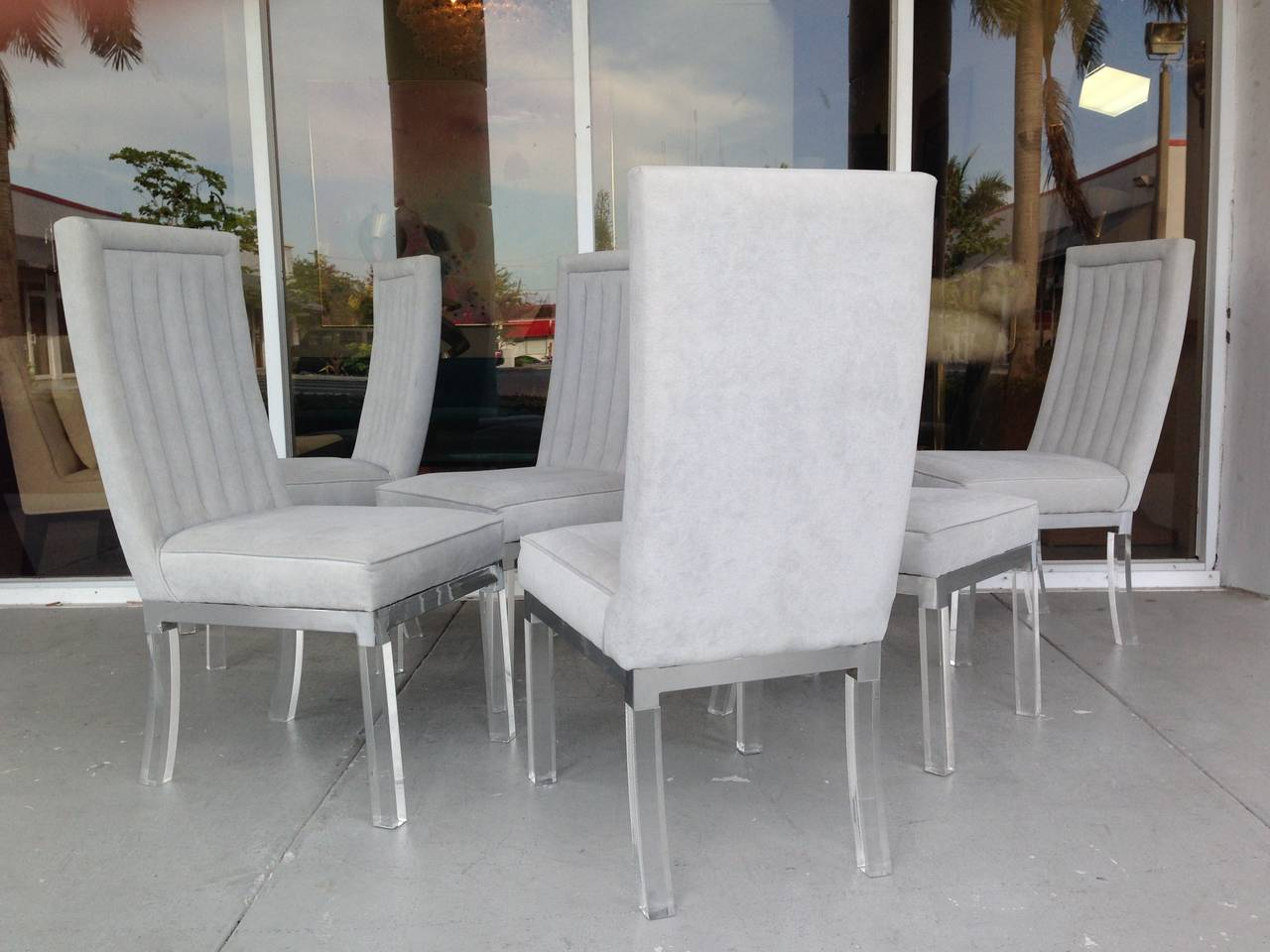 Six Lucite And Chrome Dining Chairs By Charles Hollis. Middle Eastern Furniture. Concrete Tile Flooring. Gray Velvet Sofa. Mid Century Modern Exterior. Shower Enclosure Kits. Ikea Recessed Lights. Interior Barn Doors. Aki Home