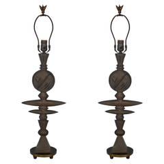 Pair of Bronze Lamps by Tom Corbin