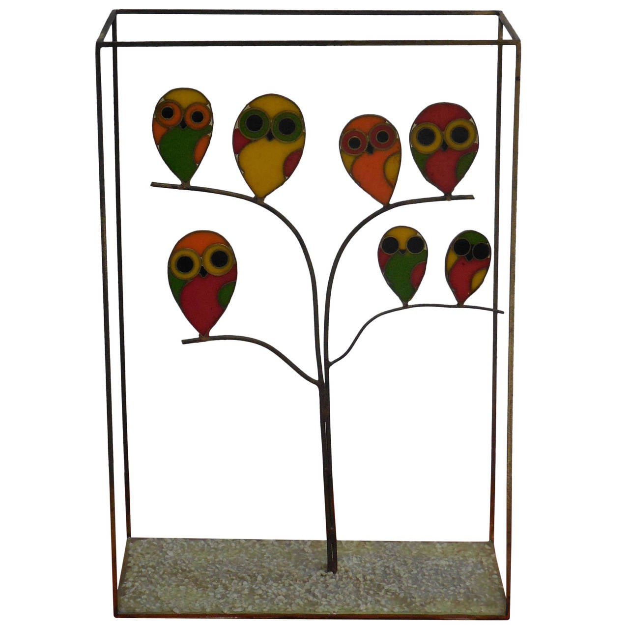 Whimsical Mid-Century Sculpture with Owls For Sale