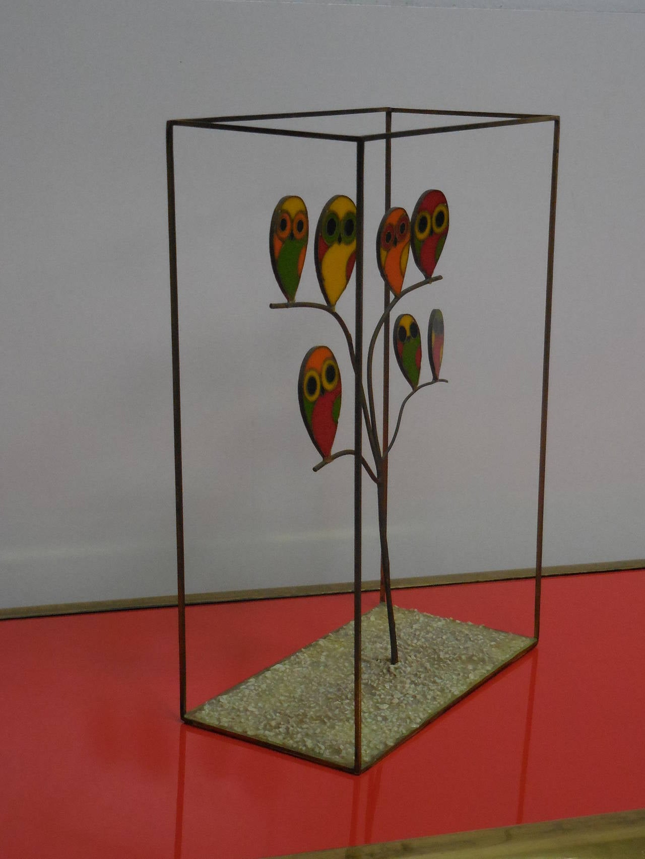 This sculpture is a lot of fun. Made of bronze and colorful enamels. Signed on bottom.