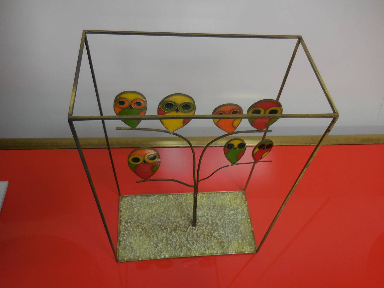 American Whimsical Mid-Century Sculpture with Owls For Sale