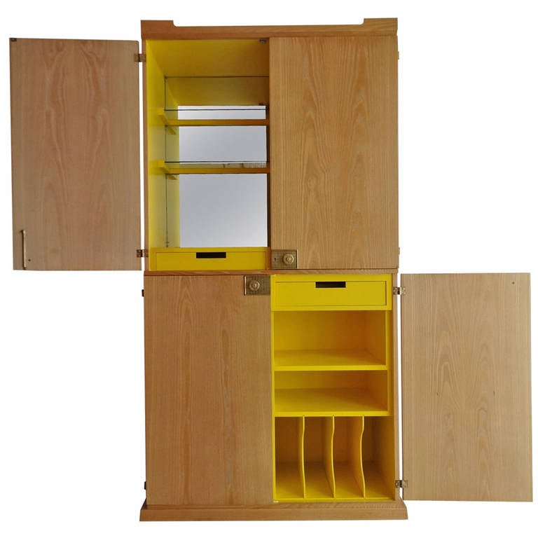 Yellow Kitchen Oak Cabinets: Yellow And Cerused Oak Bar Cabinet By Tommi Parzinger At