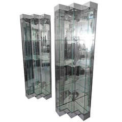 Pair of Chrome and Mirror Vitrines by Ello