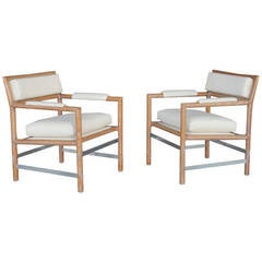 Pair of Cerused Edward Chairs by Edward Wormley for Dunbar