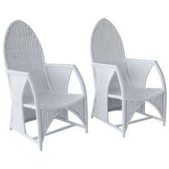 Pair of Mid Century White Wicker Chairs