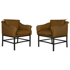 Pair of Italian Leather and Steel Couture Chairs