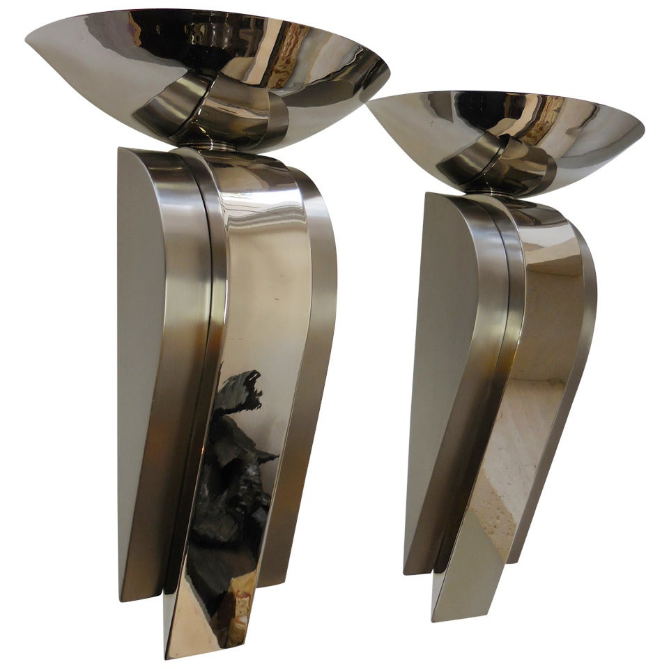 Large Stainless Steel Sconces For Sale at 1stdibs
