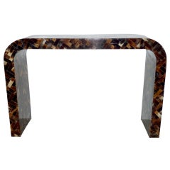 1980s Tessellated Horn Console