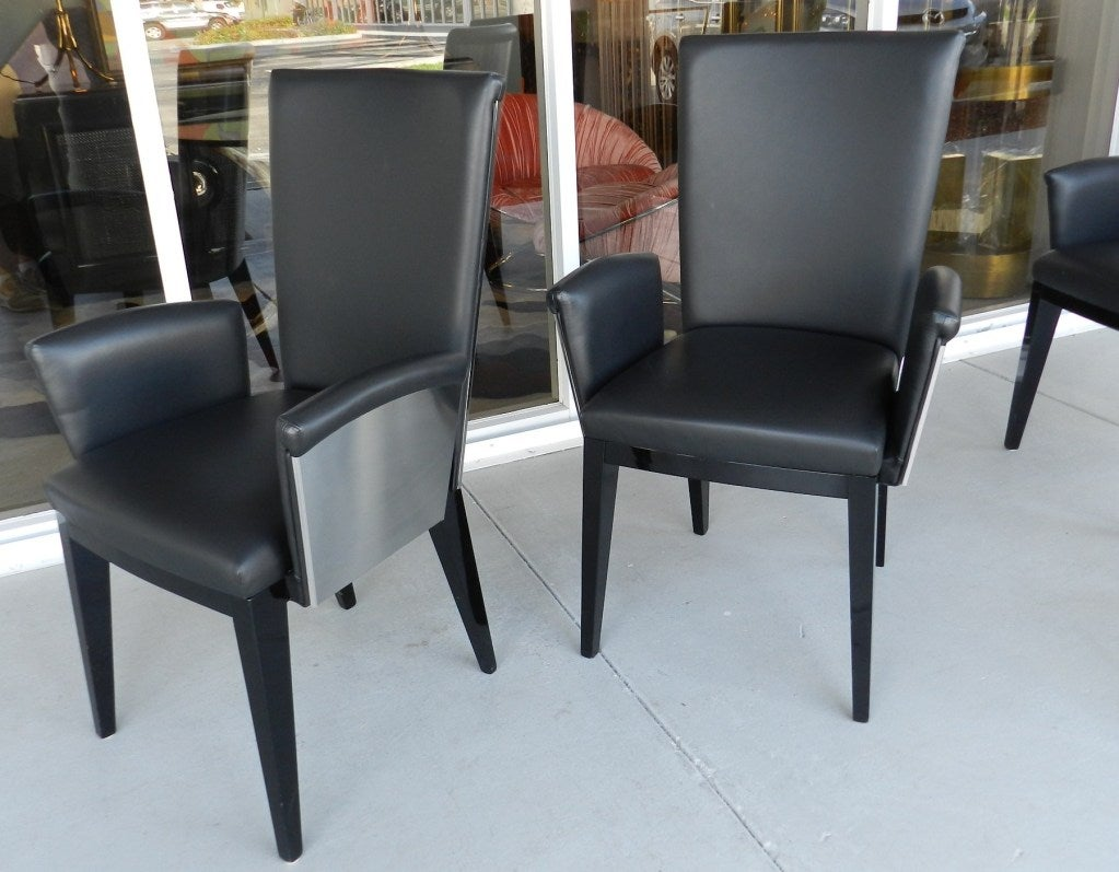 8 Italian Steel And Leather Dining Conference Chairs At