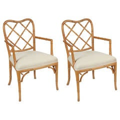 Pair of Natural Wood Chippendale Faux Bamboo Chair
