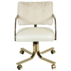 White Swivel Vinyl and Faux Fur Chair on Wheels
