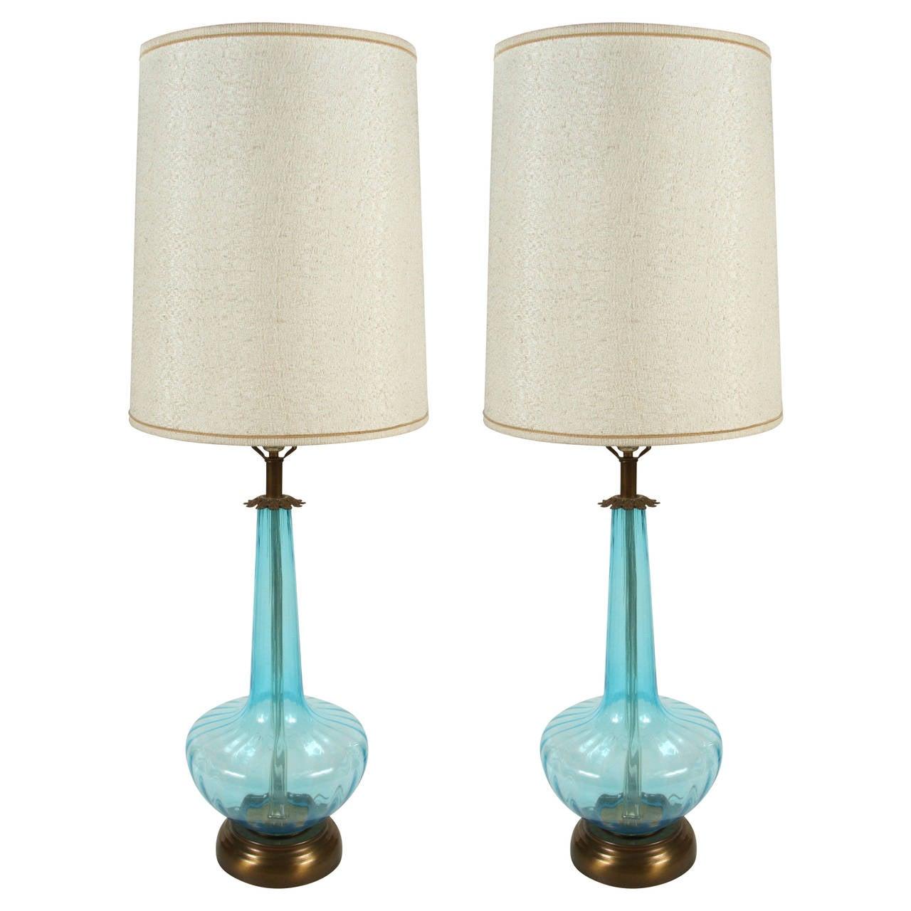 pair of vintage blown blue glass oversized lamps for sale at 1stdibs. Black Bedroom Furniture Sets. Home Design Ideas