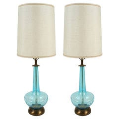 Pair of Vintage Blown Blue Glass Oversized Lamps