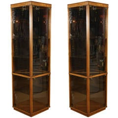 Pair of Triangular Glass Cabinets