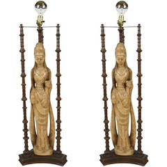 Pair of Lamps In The Style of Quan Yin