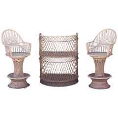 Spun Fiberglass 3-Piece Bar and Stool Set