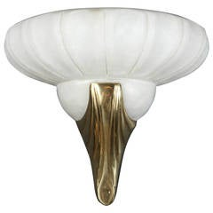 Deco Style Frosted Glass and Brass Wall Sconce