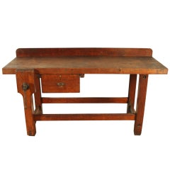 Vintage Industrial Heavy Wood Workbench