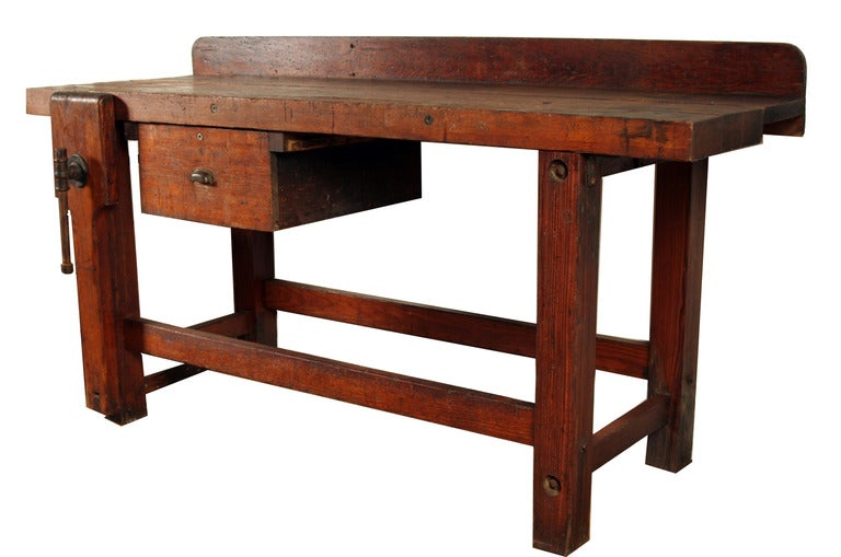 Vintage Industrial Heavy Wood Workbench at 1stdibs