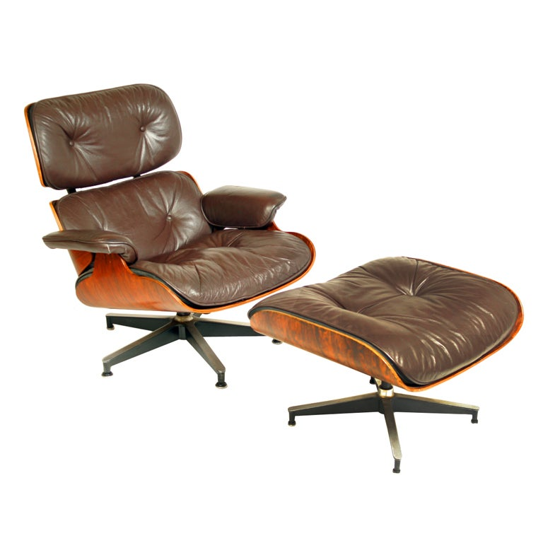 Leather And Rosewood Eames 670 671 Chair And Ottoman At 1stdibs