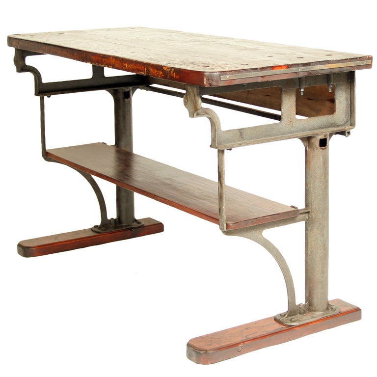 Authentic Vintage Industrial Cast Iron Work Table Bench At