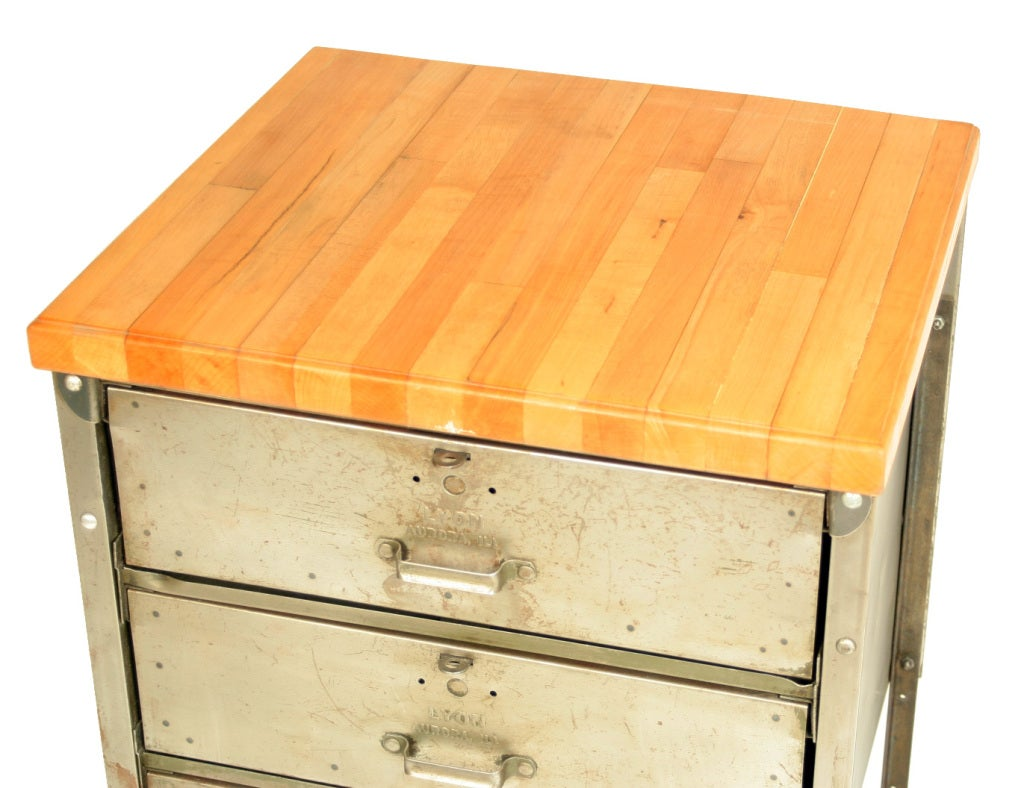 Kitchen Butchers Block With Drawers : Industrial Steel 3-Drawer Cabinet with Butcher Block Top at 1stdibs