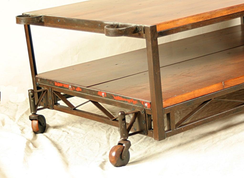 Industrial Coffee Table with Vintage Wood Wheels 3