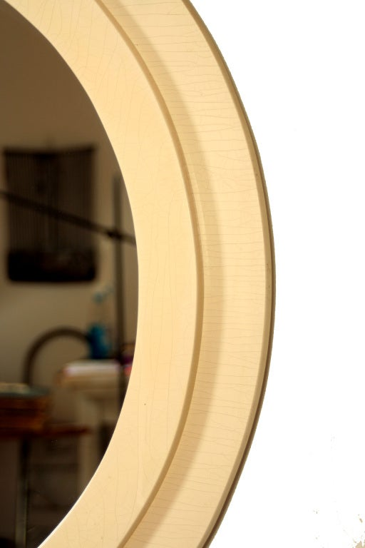 1970s white lacquer round wall mirror at 1stdibs for White round wall mirror