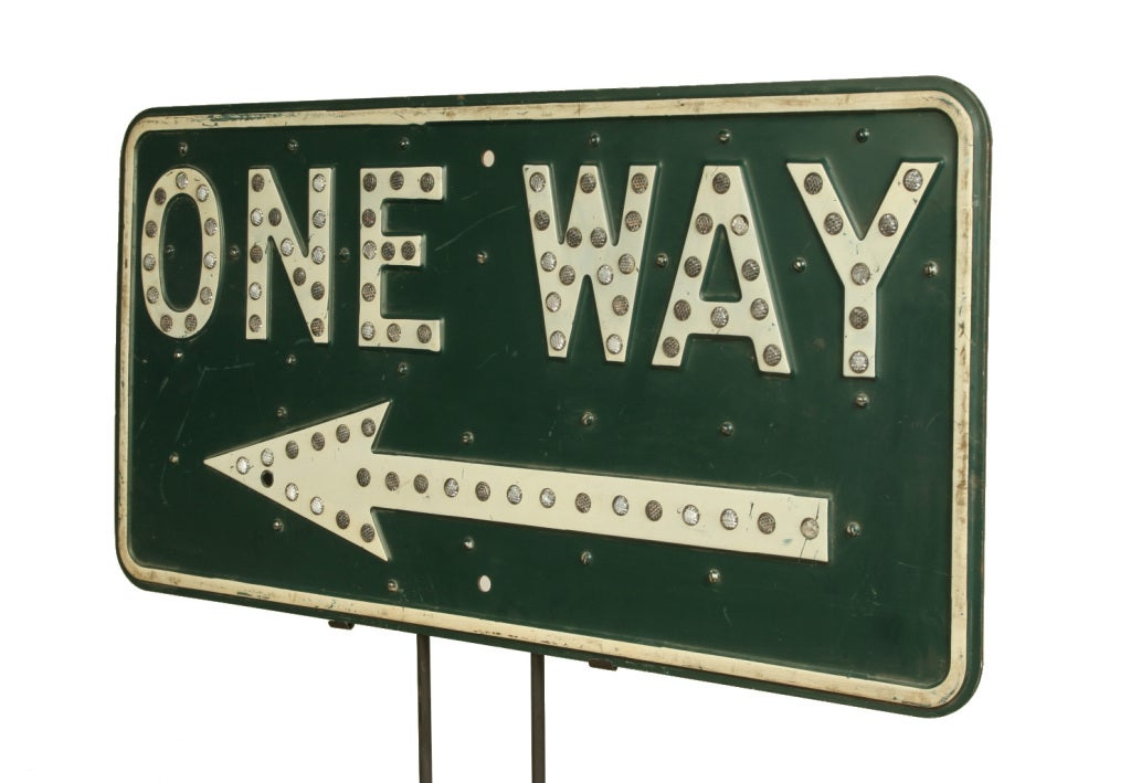 Vintage One Way Road Sign 2