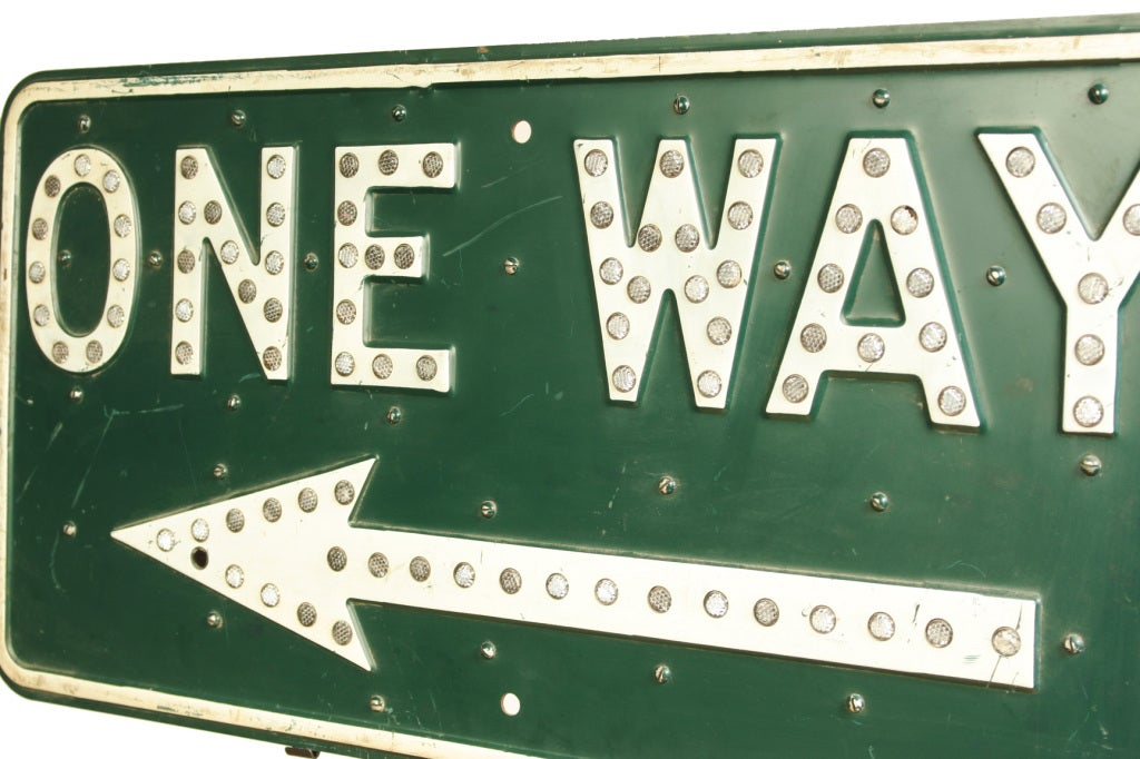 Vintage One Way Road Sign 3