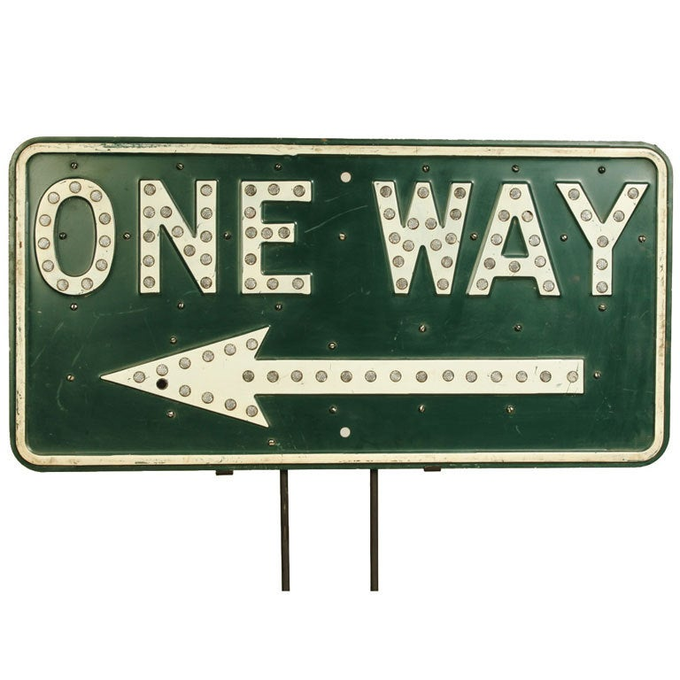 Vintage One Way Road Sign 1