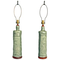 Pair of Mid-Century Drip Glazed Pottery Lamps