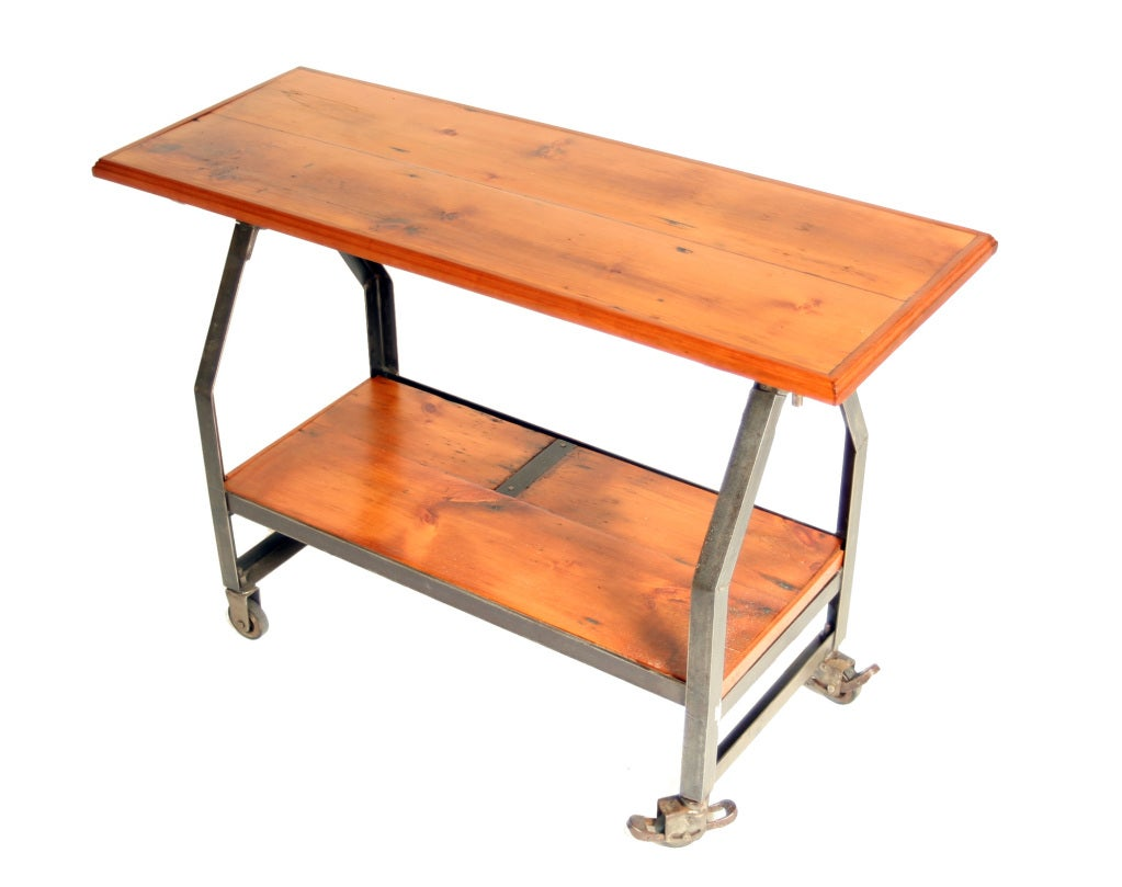 Industrial Two Tiered Console On Locking Casters At 1stdibs