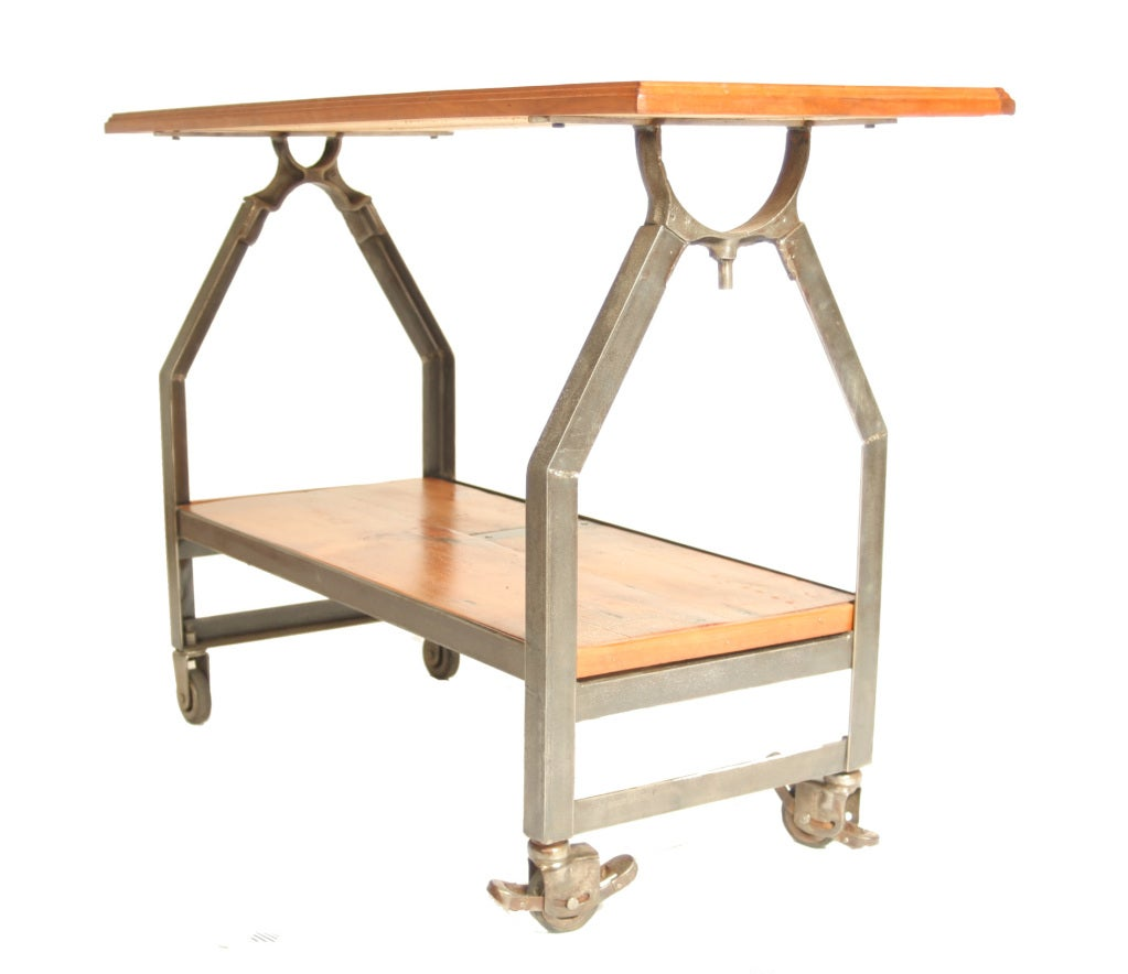 Industrial Coffee Table On Wheels At 1stdibs: Industrial Two-Tiered Console On Locking Casters At 1stdibs