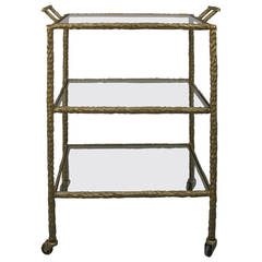 1950s Iron Bar or Serving Cart in a Gold Cold Painted Finish