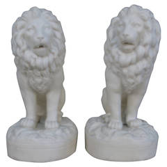 Pair of 1880s-1890s Parian Porcelain Seated Lions