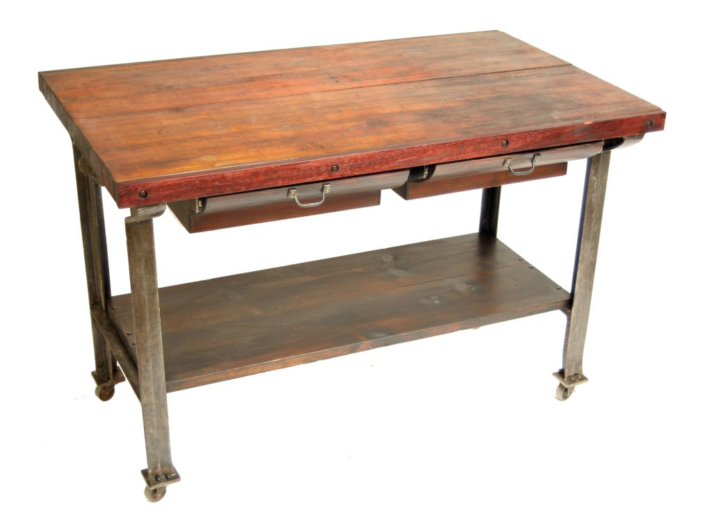 Vintage industrial butcher block kitchen island at 1stdibs for Kitchen island table