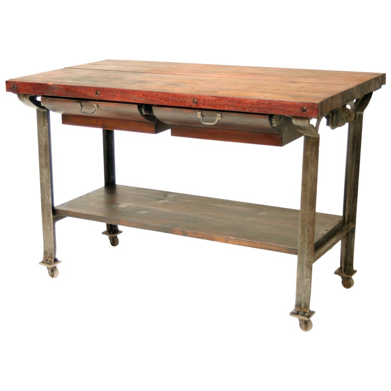 Vintage industrial butcher block kitchen island at 1stdibs - Industrial kitchen tables ...
