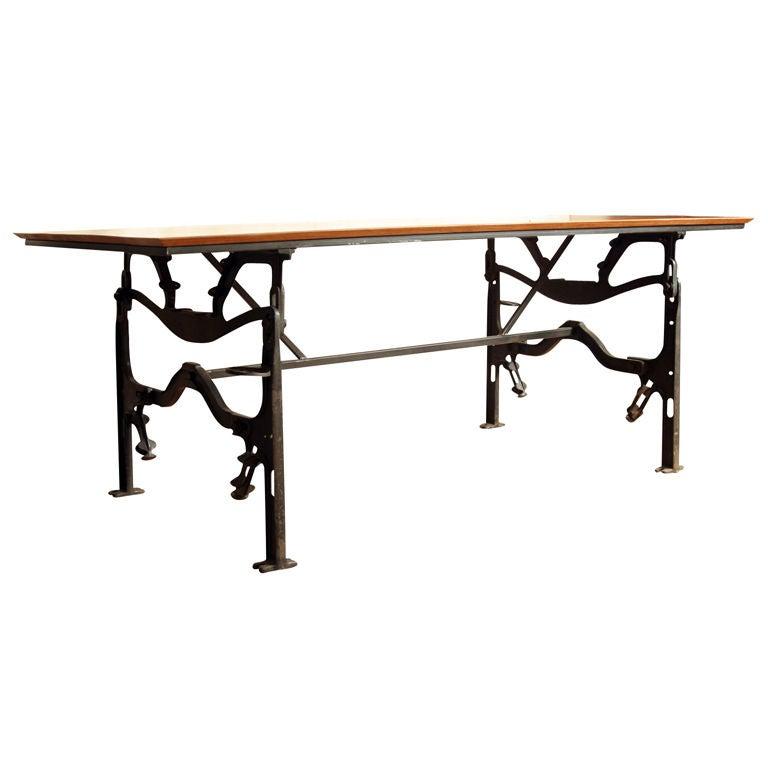 Industrial dining table cast iron base jatoba top at 1stdibs for Cast iron dining table