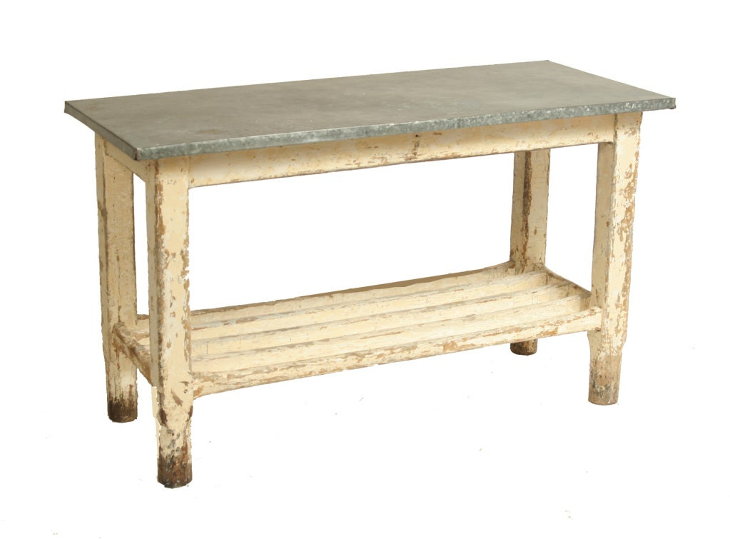 Vintage galvanized work table kitchen island at 1stdibs for Kitchen island table